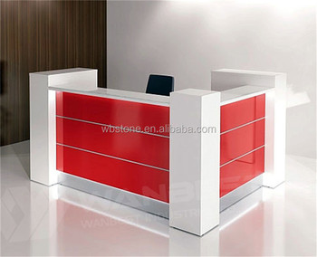 Red Small Office Reception Desk