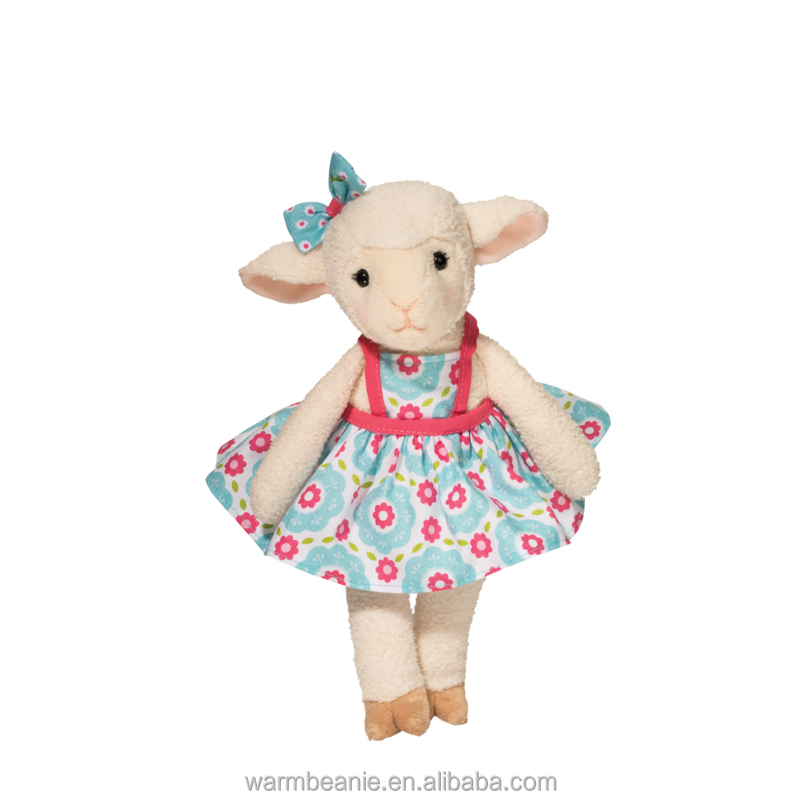 Promotional high quality Suntown plush stuffed dressed floral skirt little sheep toys, plush beautiful sheep toy