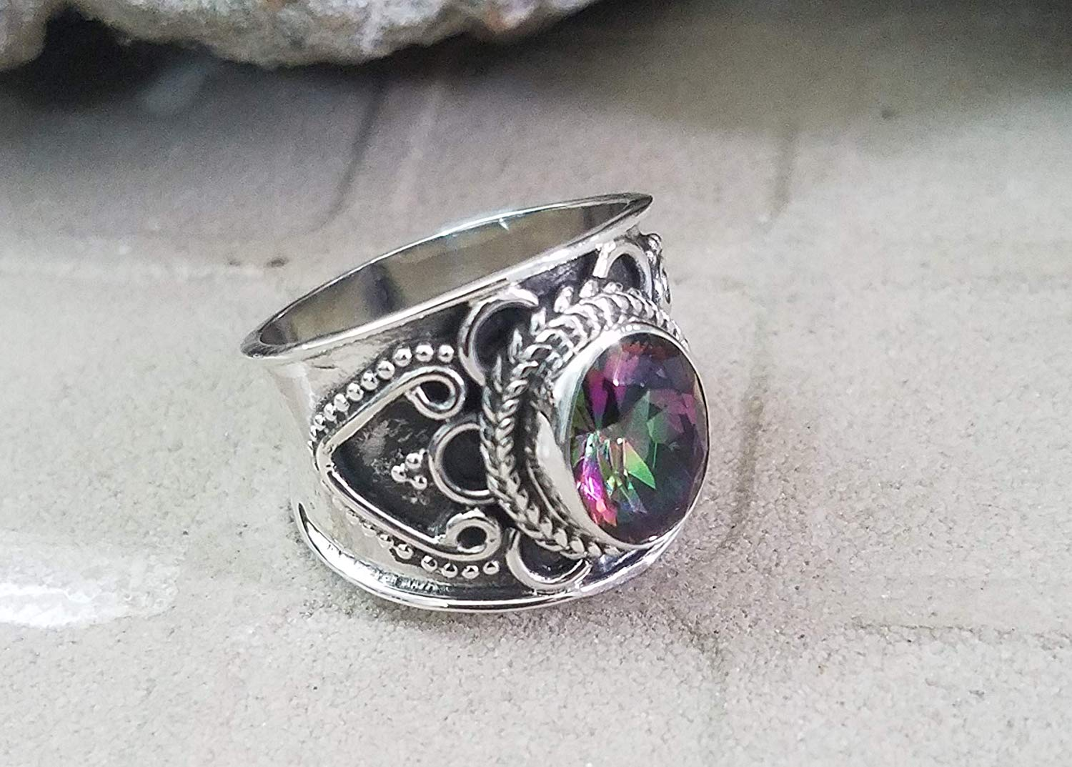 Mystic Topaz Ring.925 Sterling Silver.Wide Band Ring.Bohemian Tribal Ring.Wedding & Engagement Ring.Glamour Ring.Intricate Design.Extremely Unusual Ring.Unique & Ultimate Jewelry.US All Size