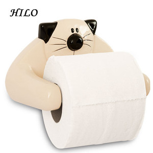 Cat ceramic toilet roll paper towel holder