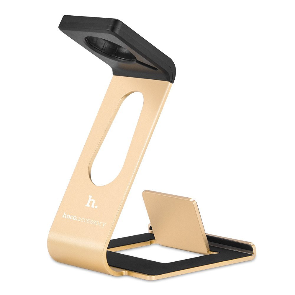 Apple Watch Stand & iPhone Stand,Premium [2 in 1][Charging Dock] Solid Aluminum Body Desk Charging Station for Apple iWatch 38mm/42mm, for iPhone 5, 5s, 6, iPhone 6 Plus(Gold)