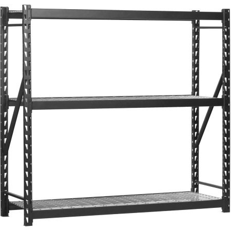 "Edsal 72""H x 72""W x 24""D Steel Welded Storage Rack, Black"