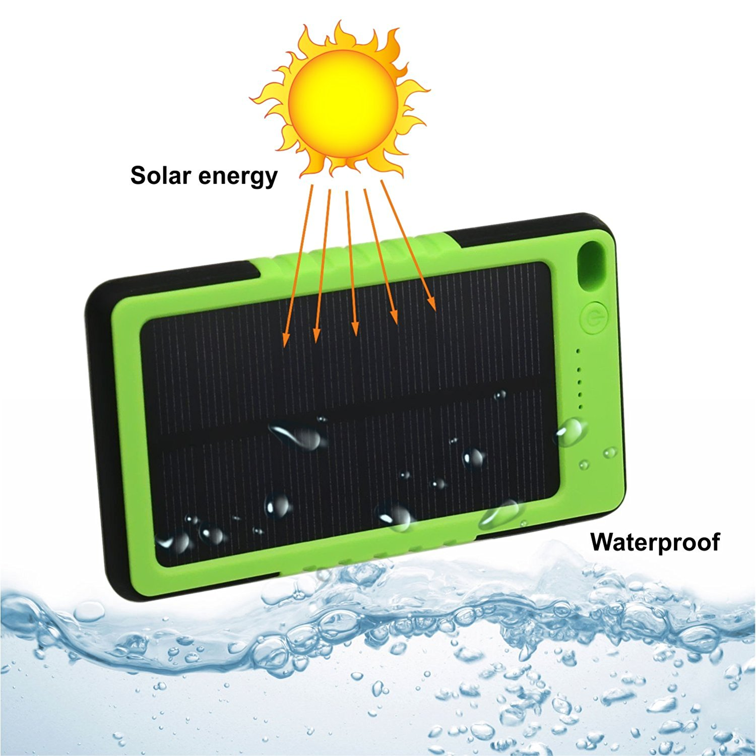 Solar Portable Charger Waterproof 8000mah LED External Battery Charger Power Bank For Cell Phone, iPhone, Samsung, Android phones, Windows phones, GoPro Camera, GPS, (Green)