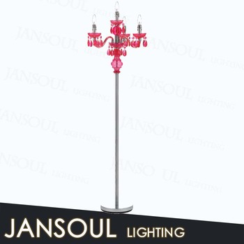 Zhongshan Supplier Modern Home Decor Standing Floor Lamps Chrome Crystal Candelabra Chandelier Lamp With Ce