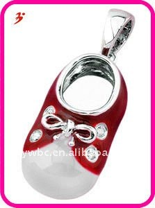 Enamel white gold baby shoe with cute bow shape pendant jewelry (H184229)