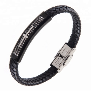 New Products Stainless Steel Religious Wire Bracelet Leather Jewelry Cross Party Bangle With Zircon PZB251