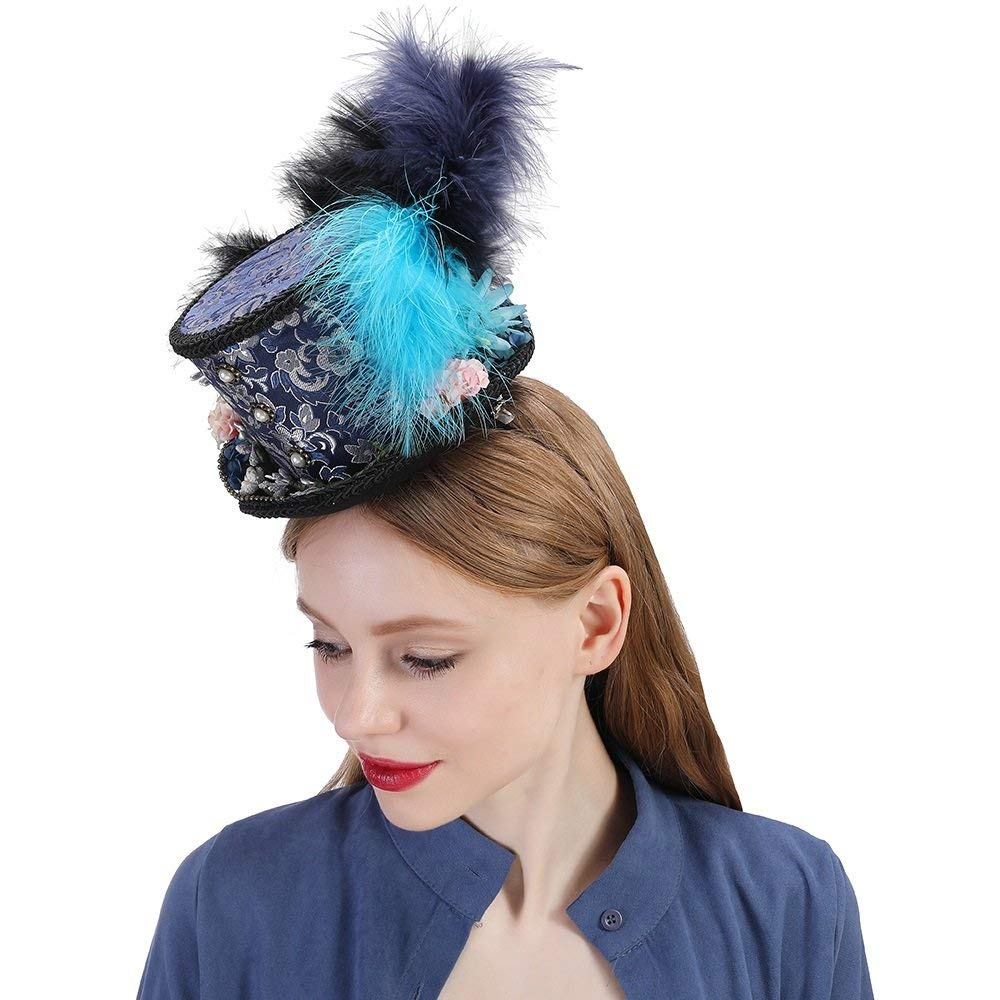 HHF Hats & Caps Mini Top Hat, Turquoise and Purple Hat, Kentucky Derby Rainbow Hat, Royal Ascot, Horse Race hat, Paisley Tea Party hat, Mad Hatter hat (Color : Draw Blue, Size : 25-30cm)