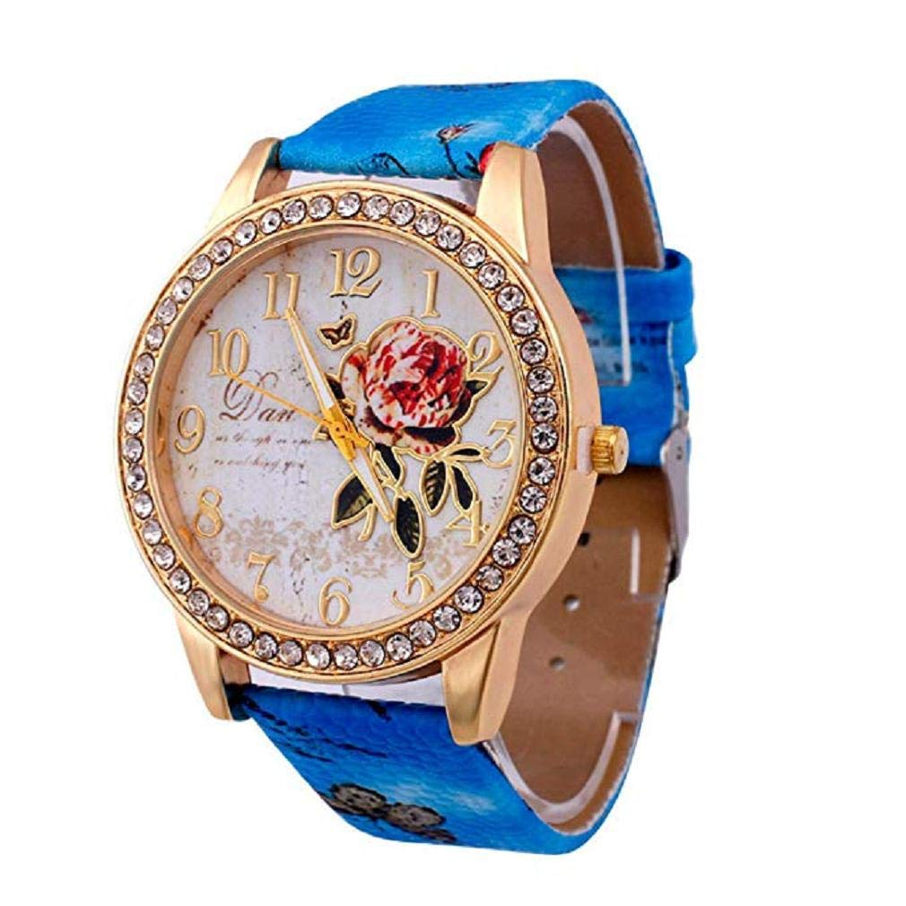 Womens Flower Watches,Windoson Unique Analog Fashion Clearance Lady Watches Female Watches Casual Wrist Watches for Women,Round Dial Case Comfortable PU Leather Watch (Blue)