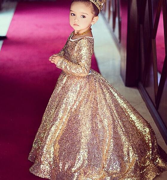 Rose Gold Sequins Children Cocktail Evening Gowns Prom Party Dress for Kids Teenagers