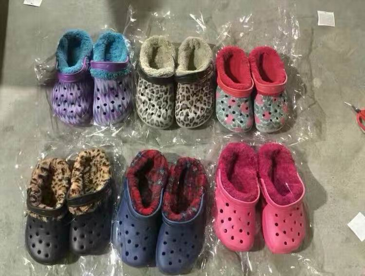 stock lot shoes garden clog eva hole shoe mens women kids winter clogs with fur inside