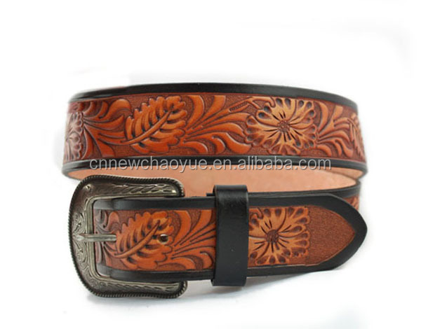 Cow Hide Genuine Leather belt,Embossed Brown Men Belt