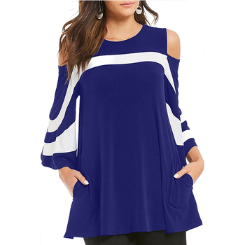 Platter Colorblock Bell Sleeve Tunic Top Plus Size Blouse Coat Women Clothes Ropa Mujer