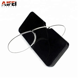 Magnifying glasses Mini pocket phone case rimless reading glasses without arms