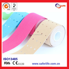 2016 wholesale 5cm 5m punched medical K sport therapy cure protect muscle elastic 2016 punched Kinesiology tape
