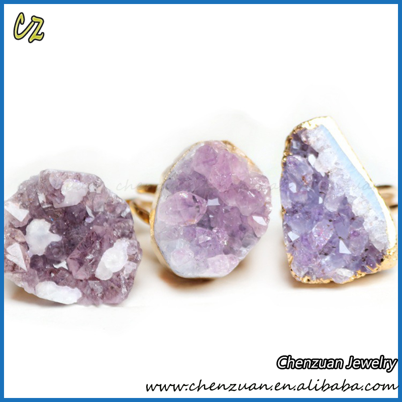 New fashion jewelry Druzy Quartz stone rings design raw amethyst druzy ring