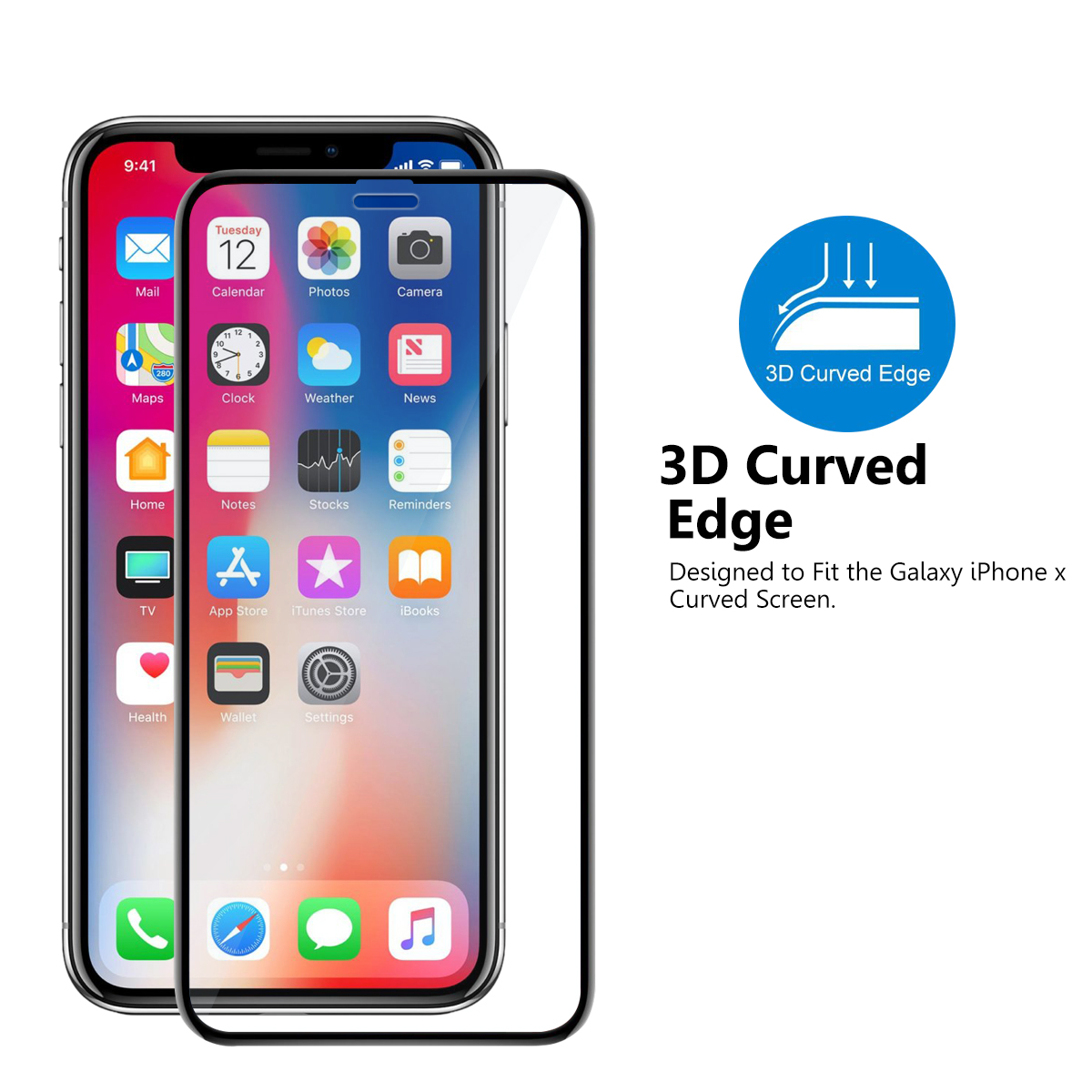 HD clear full cover 3d 9h 0.33mm dustproof smartphone tempered glass screen protector for iPhone X