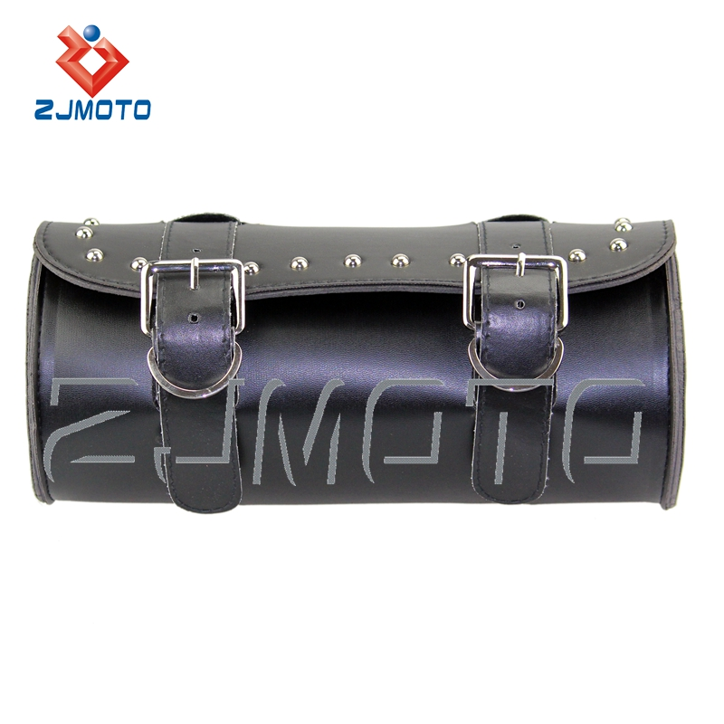 ZJMOTO Leather Motorcycle Fork Sissy Tool Bag Luggage Saddle Bag Softail Sportster Dyna Cruiser FIT For HARLEY