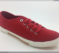 canvas woman's shoes red lace -up new style vulcanized shoes