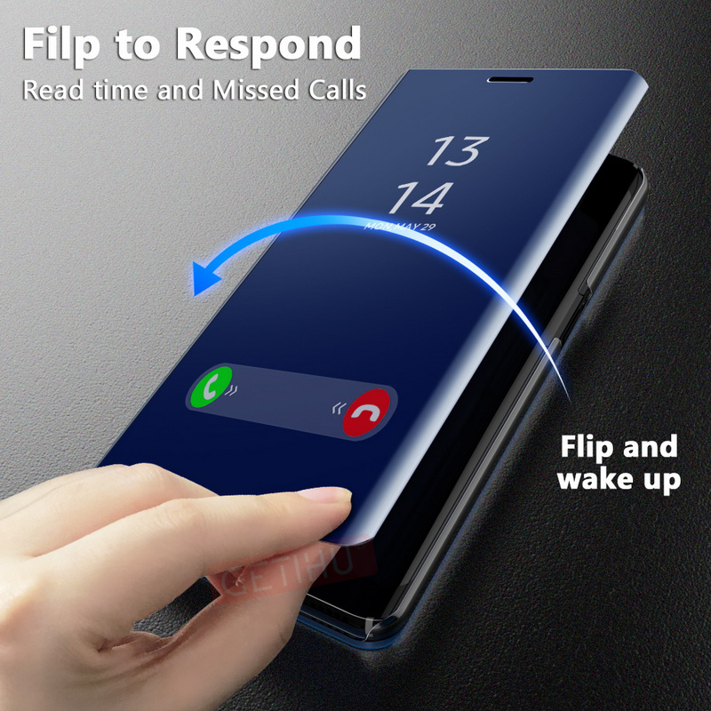 2019 China factory stand fold cell phone case Flip Smart Mirror Coque cover For Huawei P20Lite P20Pro P20