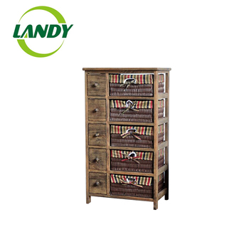 Cotton Fabric Drawer Craft Solid Wood Small Baby Storage Cabinet 3 Wooden Multi Drawers