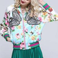 New arrival embroidered butterfly floral printed women baseball jackets