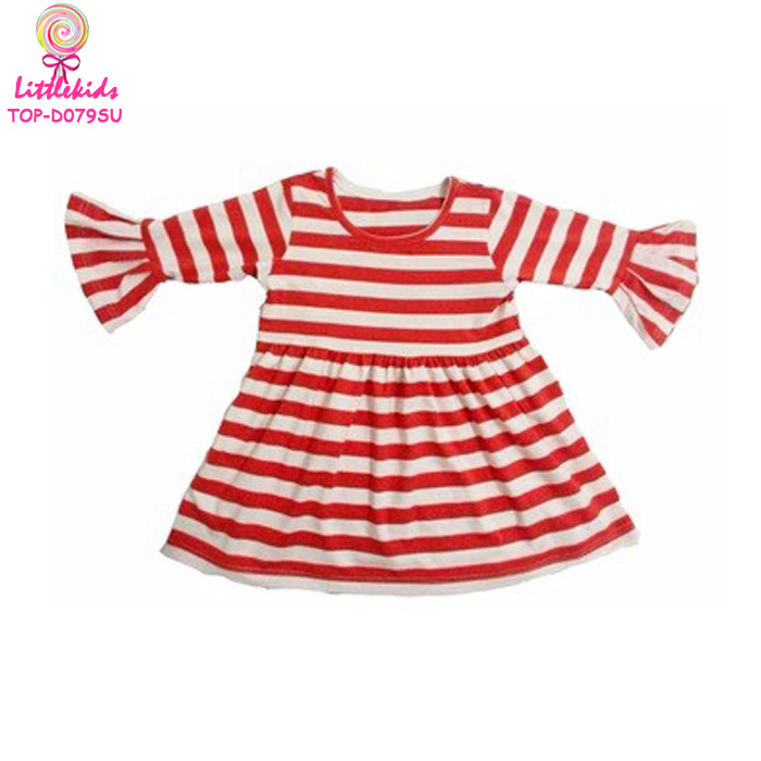 Wholesale Newborn Picture Clothing Korean Kids Summer Ruffle Sleeve Red Stripes Party Dresses For Baby Girls 2017