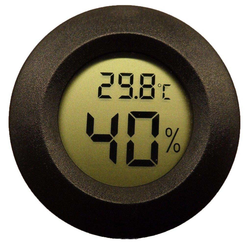TopYart Digital Cigar Humidor Hygrometer Thermometer Temperature Round Black