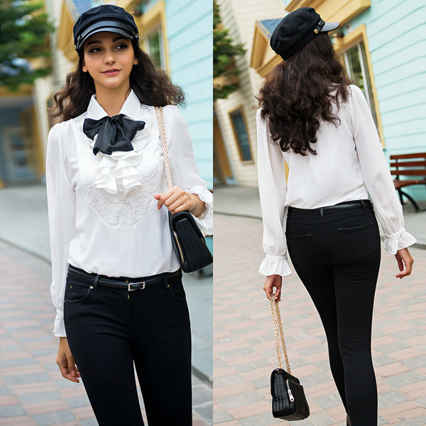 2014 Young Women White Long Sleeve Chiffon Shirt Blouse