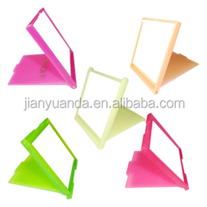 Colorful plastic bling pocket mirror / glitter square plastic mirror foldable / beauty promotional 2 folds plastic mirror square