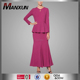 Rose Red Peplum Dress Fashion Baju Kurung For Muslim Women Modern Baju Kebaya With Mermaid Skirt