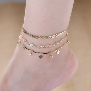 Gold Plated 3pcs/set Heart Pendant Alloy Gold Anklet