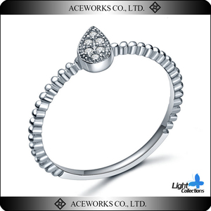 2018 Top Fashion 925 Sterling Silver Water Drop Shape Ring Unique Drop Rings with zircon