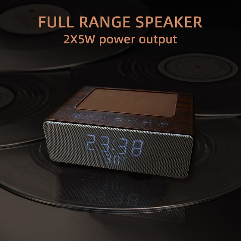 M15 wooden led clock with speaker stereo wireless bluetooth wooden speaker with wireless charger