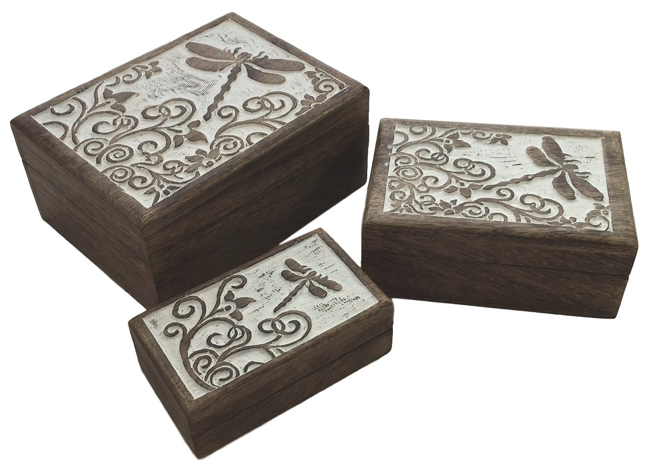 Set of 3 - Dragonfly Box - Shabby Chic India Mango Wood Rustic Decorative