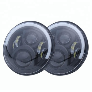 "7inch 12v 24v round led 7"" headlight for jeep with amber halo ring"