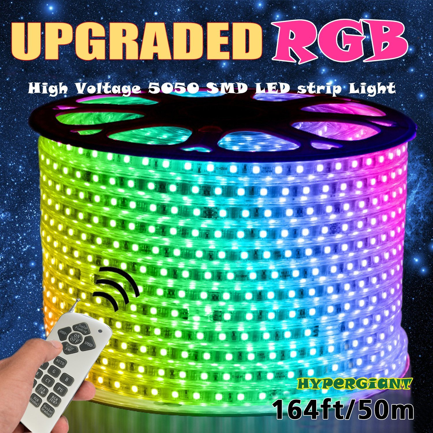 Hypergiant AC 110-120V Flexible RGB LED Strip Lights, 60 LEDs/M, Waterproof, Multi Color Changing 5050 SMD LED Rope Light + Remote Controller for Party Christmas Decoration (164ft/50m)