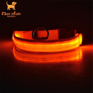 Factory sale waterproof led dog collar with silicon tube usb rechargeable