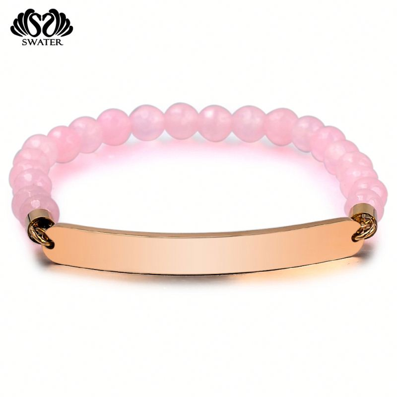 Jewelry Women Engraved Pink Bead Natural Rose Quartz Bangle