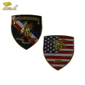 Fine Gold Plating Custom Logo Shield-shaped Metal Trophy Coin