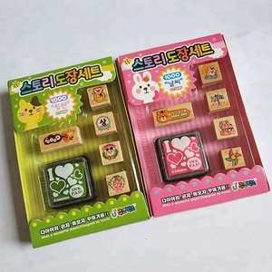 Square mini wooden rubber stamp set for kids gifts with ink pad wooden stamp toy