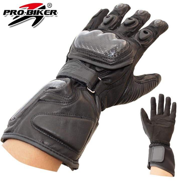 Pro-biker real leather motorcycle gloves Moto racing sports gloves long style motorbike glove protective gear M L XL black