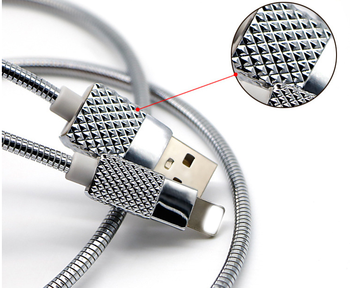 Custom Metal 봄 Jacket Usb Cable Diamond 끝 Make 대 한 Iphone Usb Charger Cable Stainless Steel 꼰 Cable Fast Charging