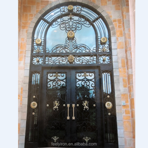New modern front entrance wrought iron main door with lion FD-1812