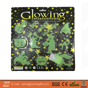 2017 HOT SALE 12PCS PUMPKIN+ GHOST+ WITCH+LETTERS SET MINI GLOW IN THE DARK HALLOWEEN PLASTIC SHEET HOME DECO FOR SALE