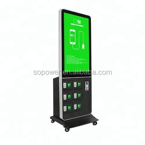 floor standing charging locker charging station locker smartphone charger station with 42inch LCD for airport
