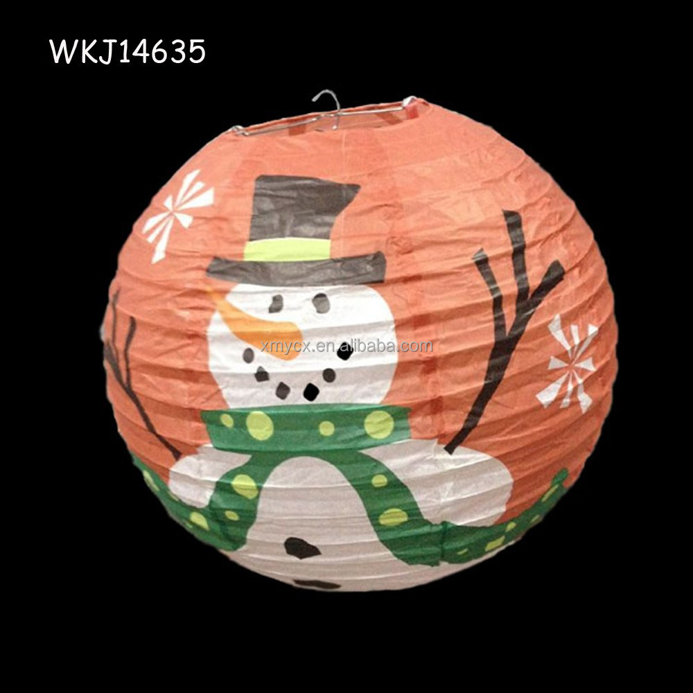 Christmas Snowman Shape Traditional Chinese Paper Lantern