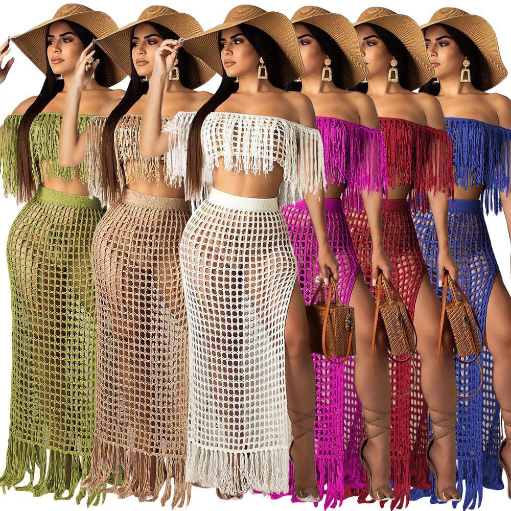 Alibaba.com / 2019 Summer Fashion Nude Side Split Off Shoulder Tassel Hollow Out Midi Dress Set