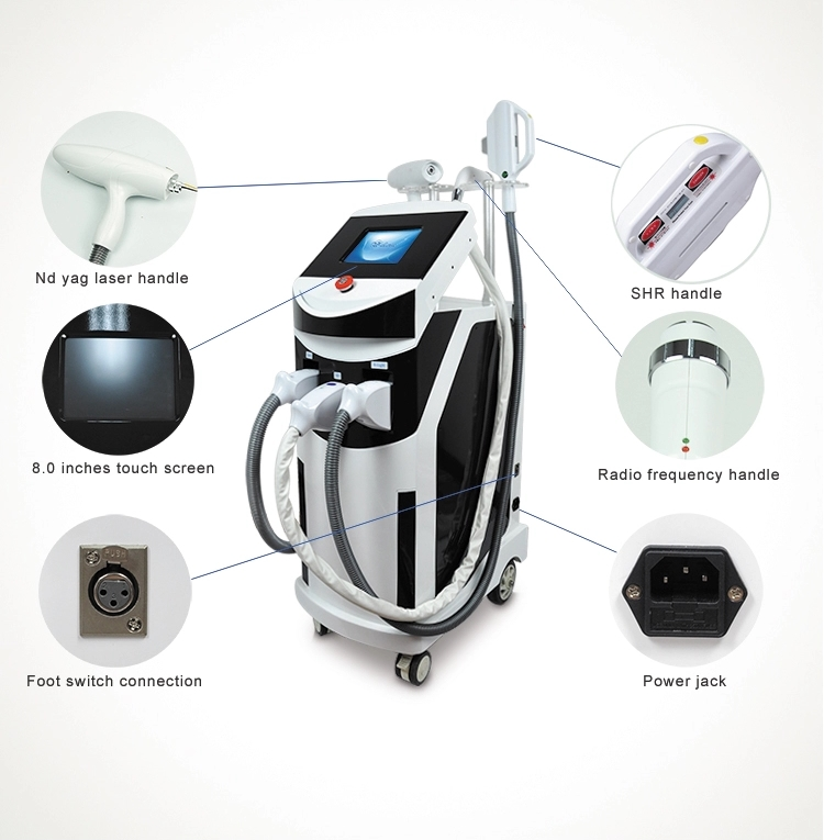 E-light ipl rf shr Hair Removal nd yag laser Tattoo Removal multifunction machine