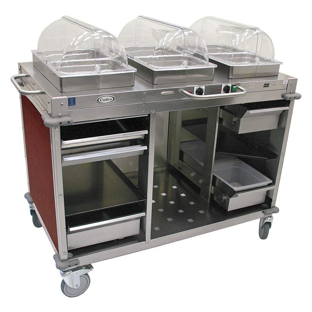 "Mobile Hot / Cold Buffet Cart Size: 49"" H x 55.5"" W x 28.75"" D, Color: Versailles Cherry"