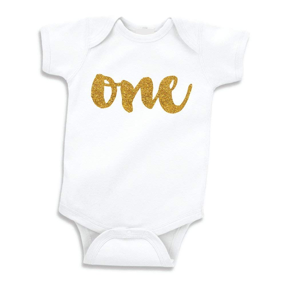 2a180fc25 Get Quotations · Baby Girl First Birthday Outfit, Girls One Year Old Birthday  Shirt (Gold Glitter,